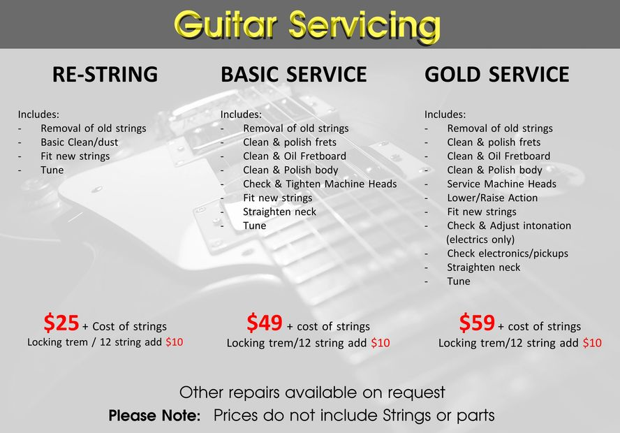 Guitar Repair/Service price list