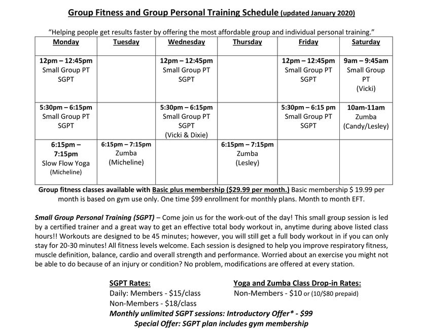 Group fitness schedule group personal training schedule yoga zumba hiit