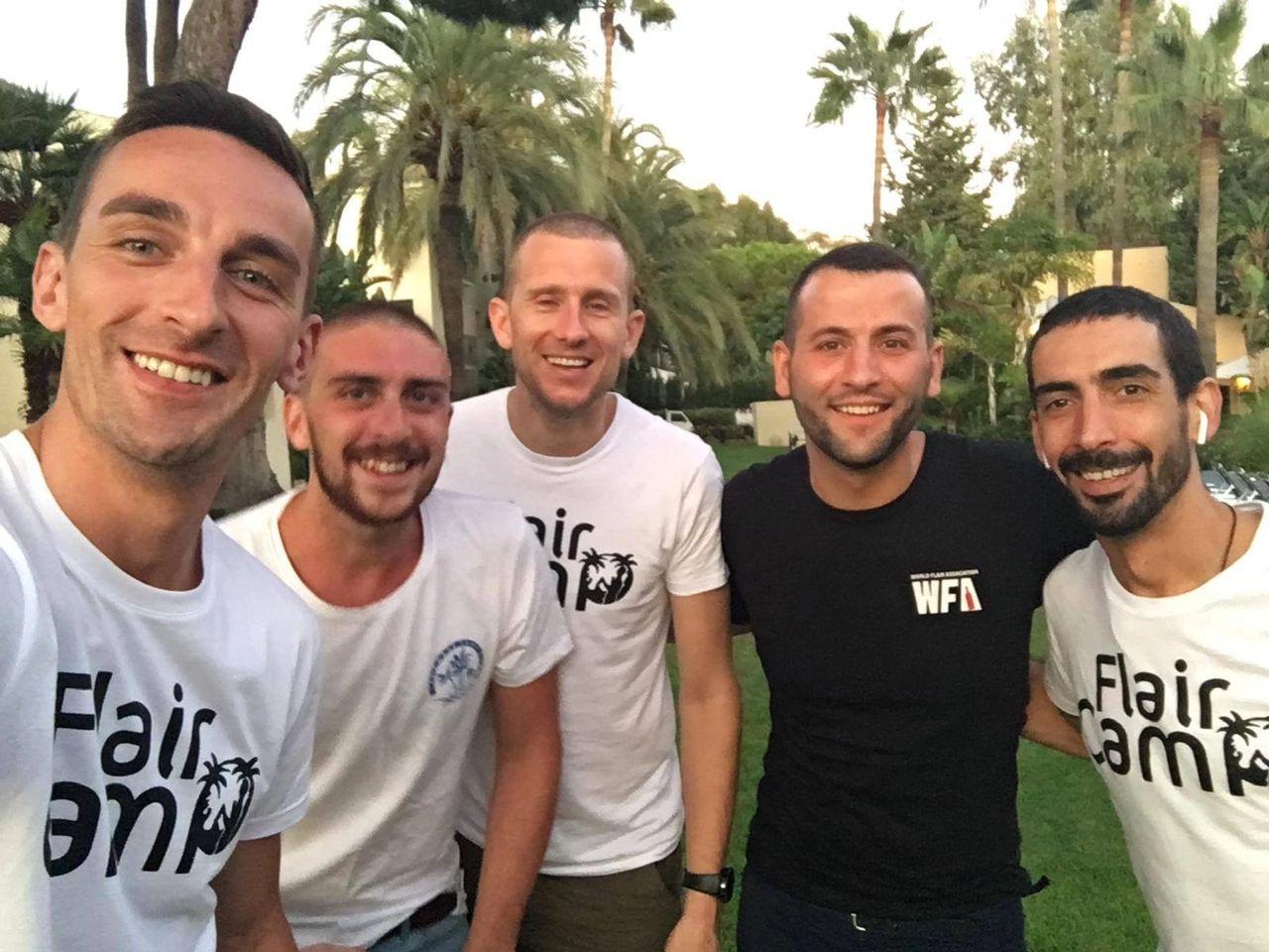 Left to right, Marek, Jumbles, Tom, Tomek & Pedro flair camp 2019