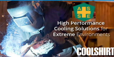 Picture of welder in full welding mask, gloves and suit.high performance cooling solutions