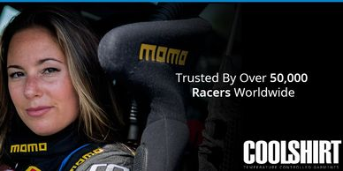 Race car driver, pictured in drivers seat,  giving racers endorsement for CoolShirt System's 4 racer