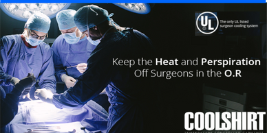 Doctors operating in OR under bright light and operating gowns & masks. Be cool with CoolShirt.