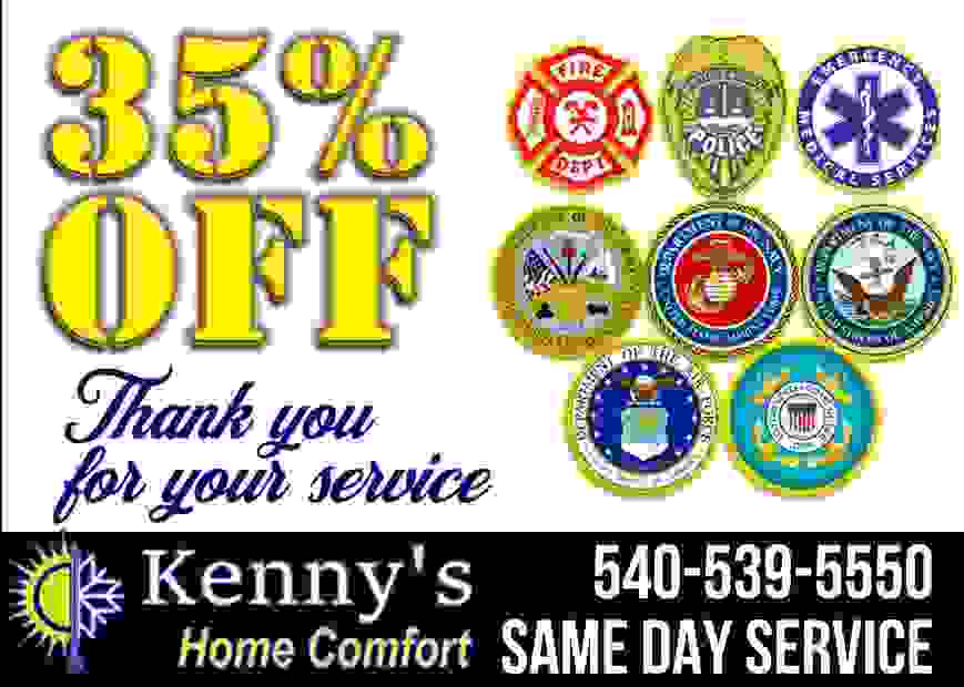 35 percent discount first responder and military and veterans