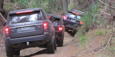 Team of Range Rover in Auckland's woods