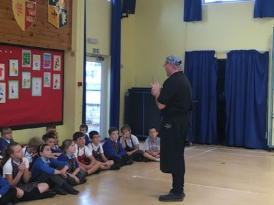 Martyn teaching Year 3 at Milborne Port Primary.