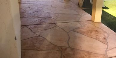 flagstone and stamped concrete, great for any backyard patio or even around the pool