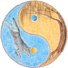 Heather Crowley Willow Round Watercolors Unity Yin Yang Wolf Willow Tree