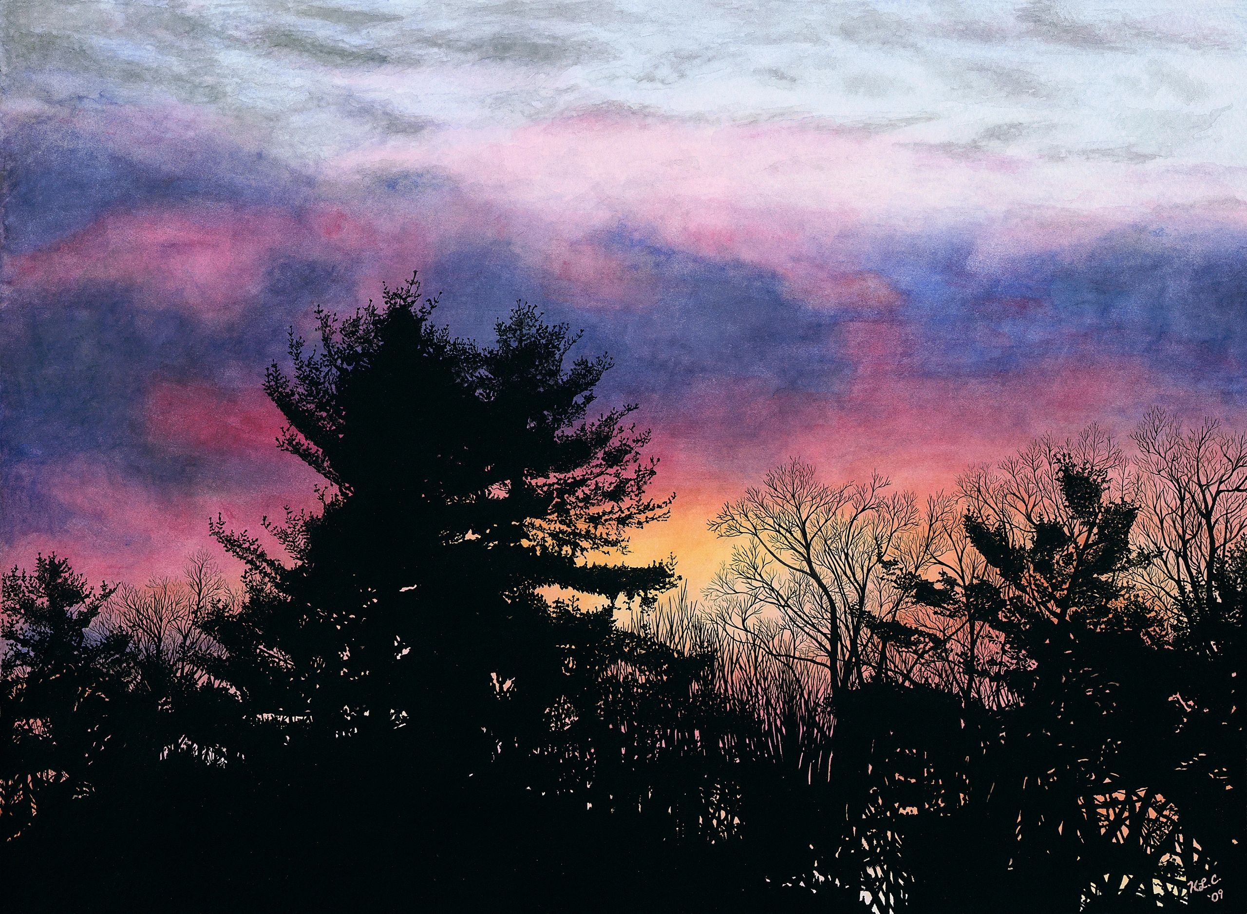 Heather Crowley Willow Road Watercolors Sunrise Trees