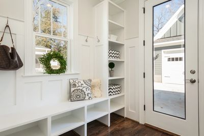 Farmhouse style mud and storage room! Love it!