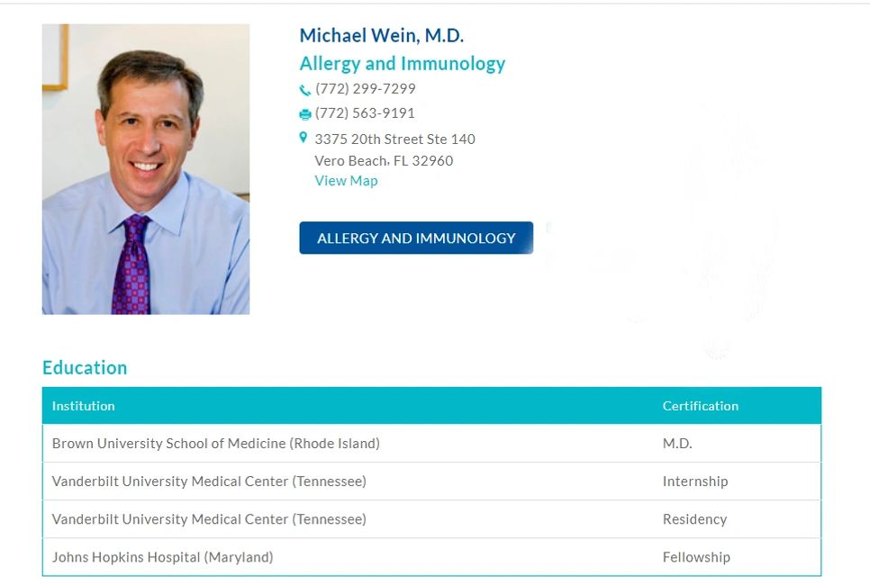 Michael Wein MD trained at Johns Hopkins Hospital, Vanderbilt Medical Center, and Brown University.