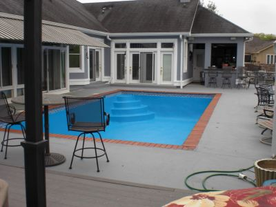 Pool Deck with Solid Color Stain