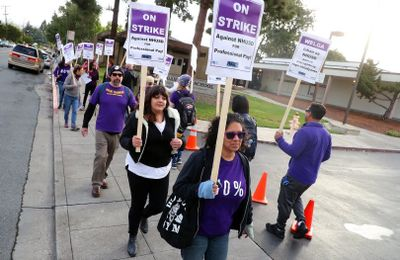 Teachers striking at New Haven Unified's schools in Union City and South Hayward