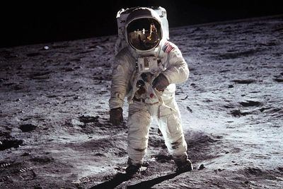 Buzz Aldrin walking on the Moon, photo credit, NASA