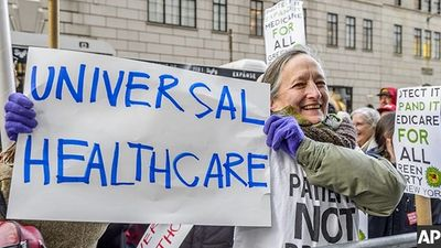 2017, Associated Press, Health Care advocates protest for Universal Care