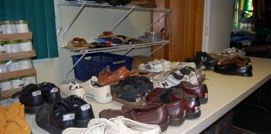 Shoes, Boot, Clothing and more are stored in the clothing closet ready to help those in need.