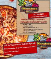 Manatees Pizza is a favorite in Punta Gorda. where you can take out tor eat in side the restaurant.
