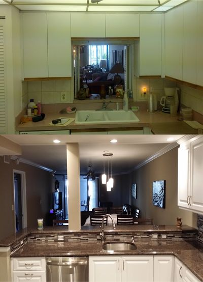 Before and after of kitchen, opening up to main living area, makes the space feel larger