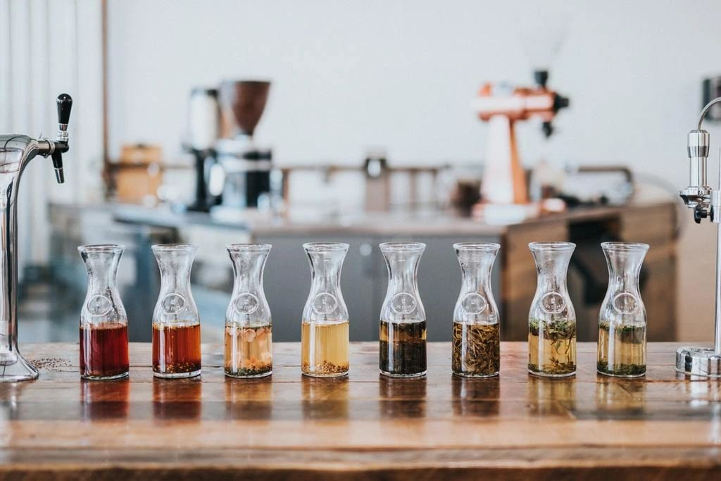 A selection of loose teas in carafes