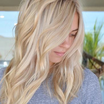 blonde hair, highlights