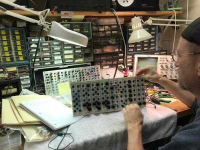 Kevin Braheny Fortune restoring a Serge Synthesizer panel from Doug Lynner's Mystery Serge.