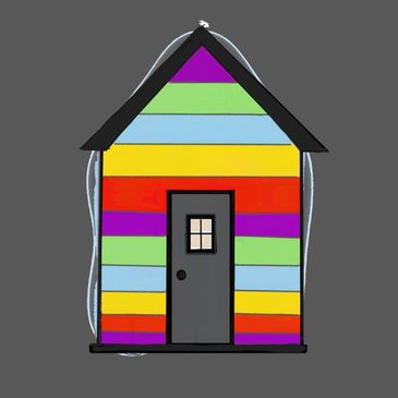Multi-coloured Cabin for Current clients of The Training Cabin