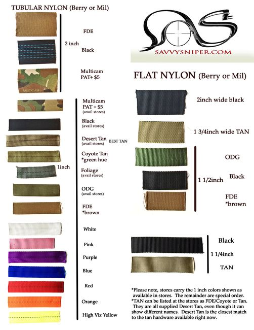 Color choices and widths available
