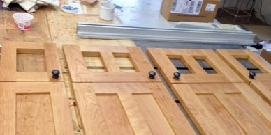 kitchen cabinet doors, cherry, book matched panels, oil and wax finish