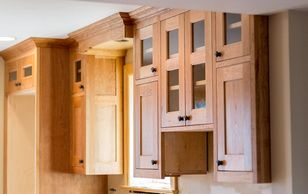 custom kitchen cabinetry in the arts and crafts style, cherry with oil and wax finish