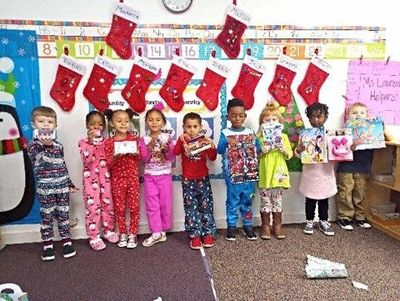 PJ Day at Christmas in the K4 Classroom