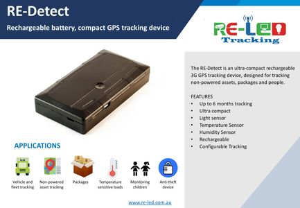 RE-Detect, Rechargeable Battery GPS Tracking Device. For Assets, Vehicles, Sensitive cargo tracking