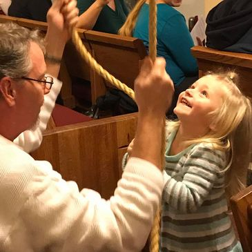 Joy - teaching a younger generation the joy of ringing the church bell.