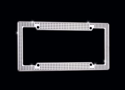 VIP Chrome Ice - VIP license plate frame Chrome finish with clear Swarovski® crystals