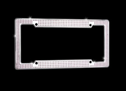VIP Chrome license plate frame with pink Swarovski® crystals