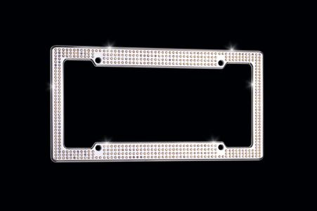 VIP Chrome Aurore Boreale license plate frame with Swarovski® Aurore Boreale crystals