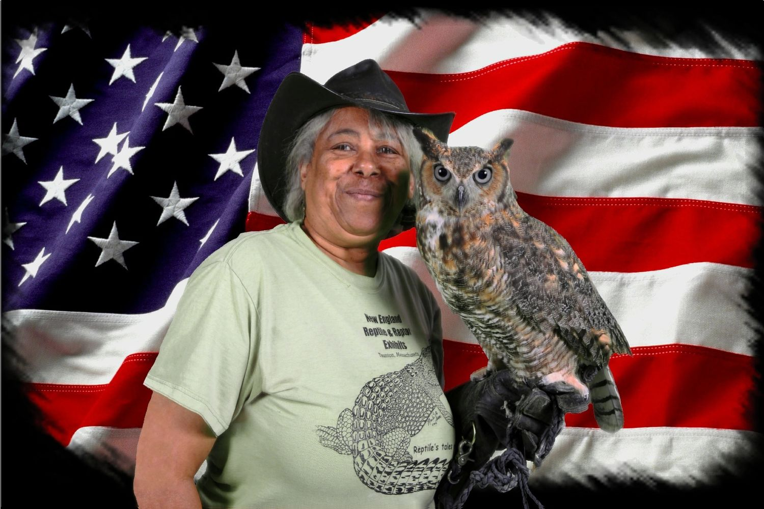 Marla Isaac and Athena the great horn owl