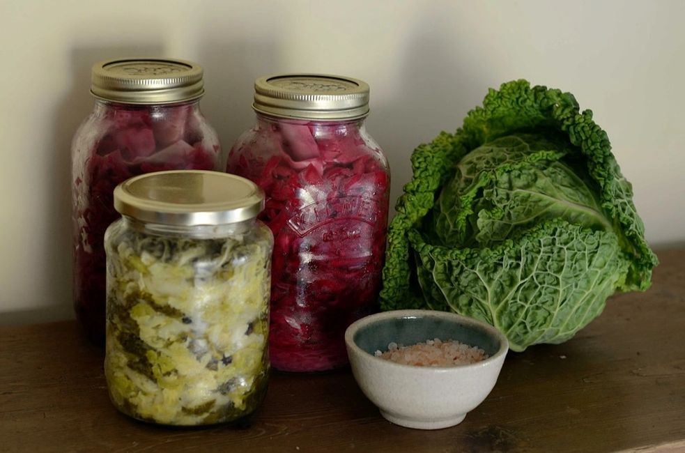 This is a picture of fermented purple cabbage and broccoli and cauliflower.