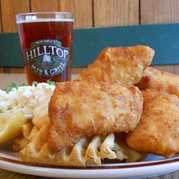 Hilltop Pub and Grill's famous fish fry, served every day.