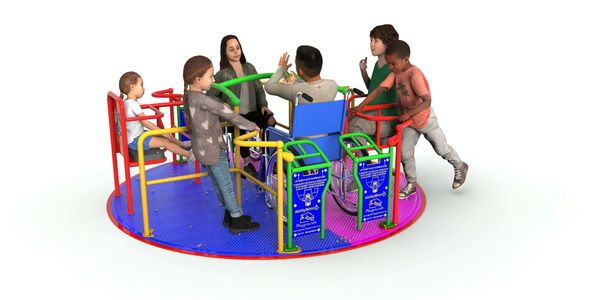 A merry-go-round, fitted flush to the ground for easy access of wheelchairs or pushchairs, for more
