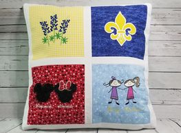 custom quilted embroidery applique personalized pillow