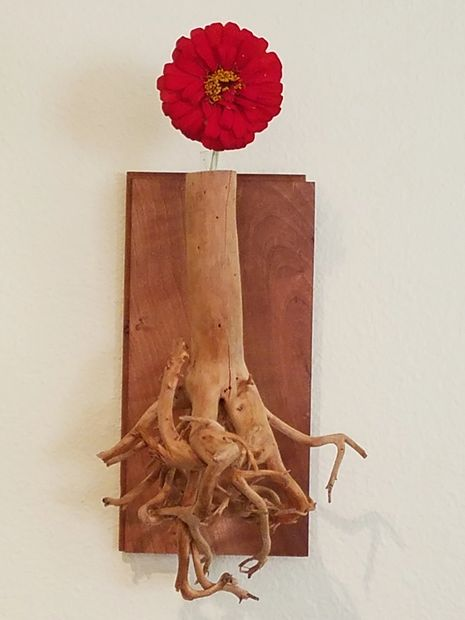 "Wall Bud Vase made from ""Former"" potted tree mounted to salvaged Cherry tongue and groove flooring"