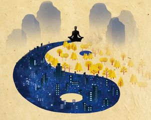 A figure meditates above yin-yang symbol  (yin is trees and yang is cityscape) in front of mountains
