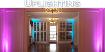 "Picture of hallway with multi-color lighting and caption that reads ""Uplighting"""