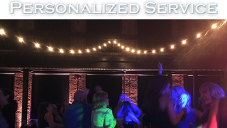 "Section title with crowd on dance floor and the slogan ""Personalized Service"""