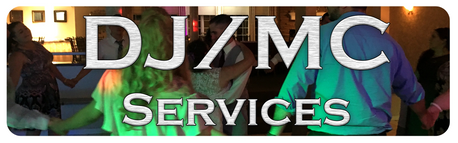 Interface button for DJ and MC services, featuring a crowd on a lit dance floor.