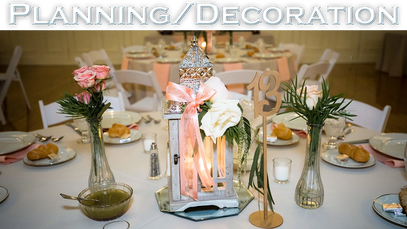 Interface button for Planning and Decoration featuring a table with a candle centerpiece.