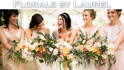 Interface button for Florals featuring a happy bride and bridesmaid holding bouquets.