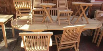 Teak garden patio outdoor furniture table set chairs tables benches bench sets