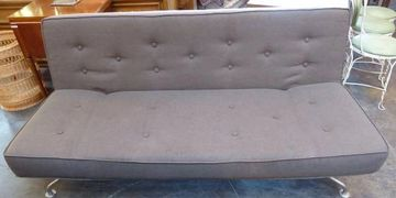living room furniture sofa couch 3 seat MCM vintage grey