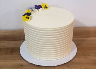 Vanilla Bean Buttercream with Edible Viola Flowers