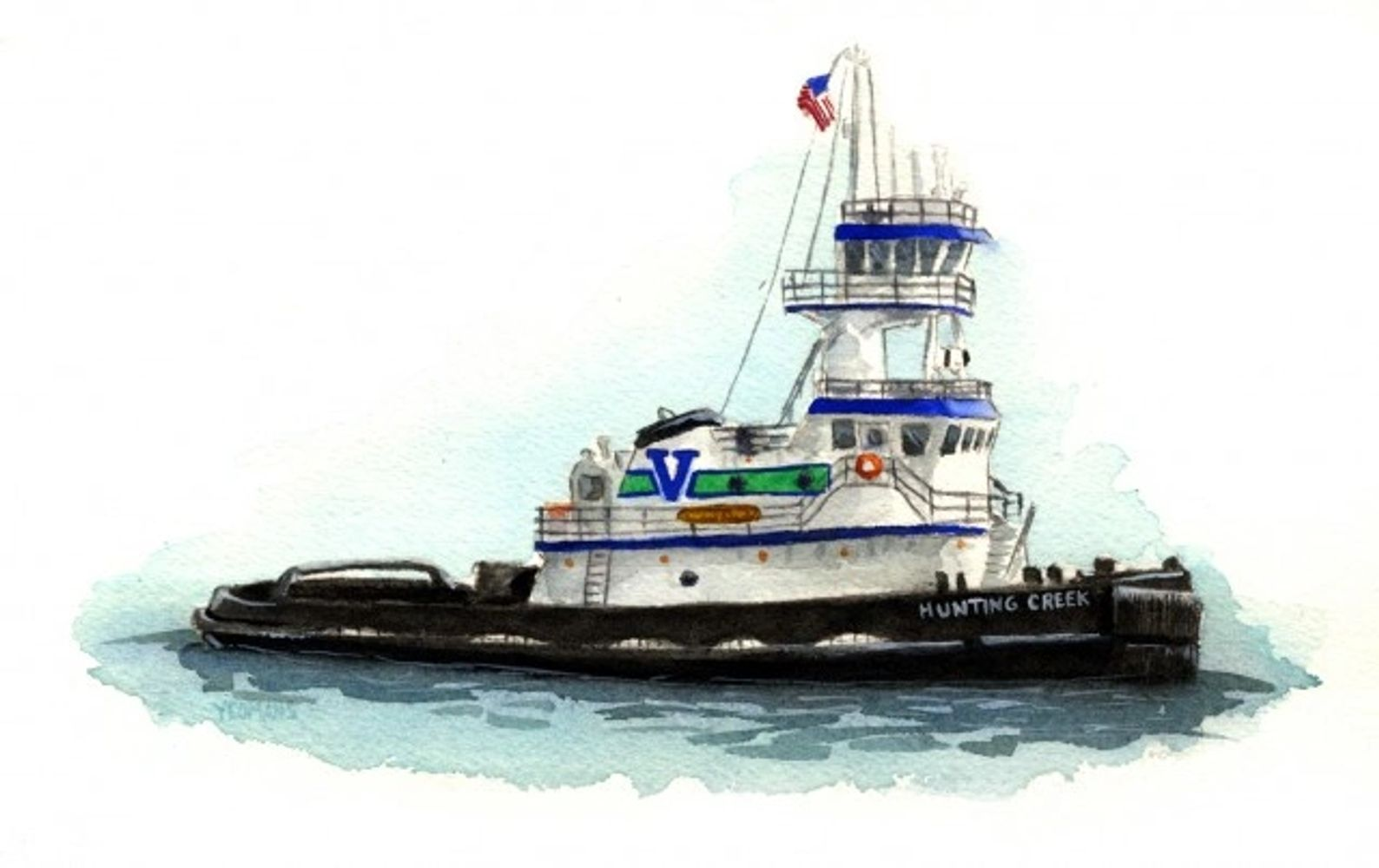 tugboat etsy watercolor
